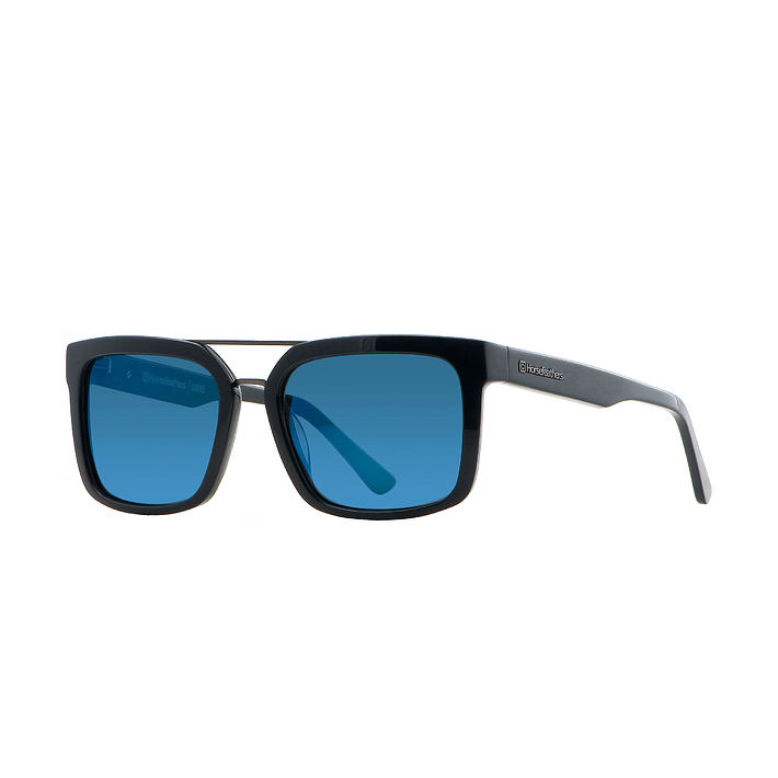 Cartel sunglasses - gloss black/mirror blue