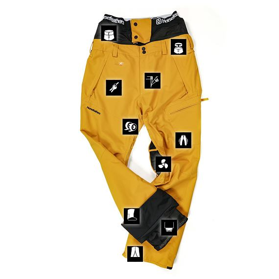Horsefeathers snowboardové kalhoty Charger - golden yellow