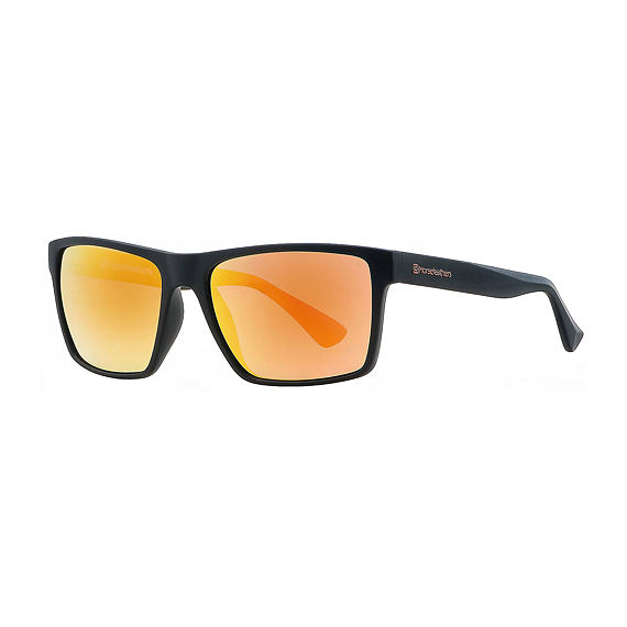 Merlin sunglasses - matt black/mirror orange