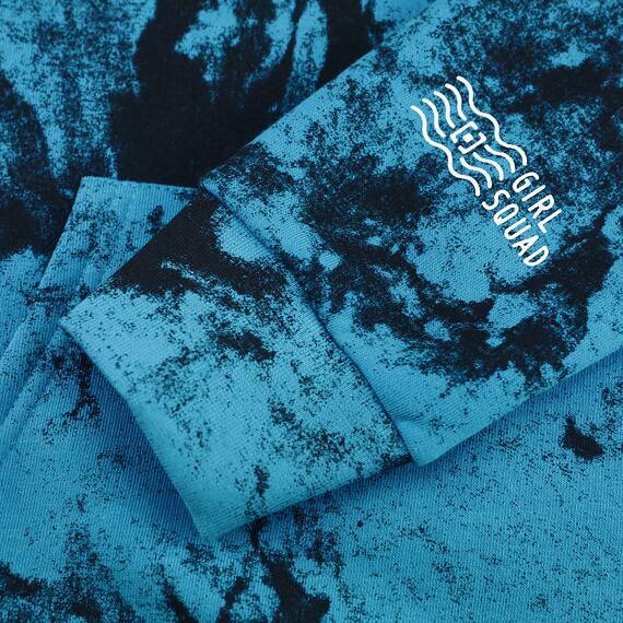 Horsefeathers mikina Skye blue tie dye - potisk rukávu